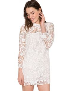 """Freshen up your summer wardrobe with this super cute little white dress, featuring sheer lace and embroidery all over. Has ¾ sleeves with hidden zip closure on back. Partially lined. Style it with your favorite platform shoes or pointed flats. *100% Polyester*32""""/81cm Bust*32""""/81cm Waist*30.5""""/77.5cm Length*Model is wearing size small and model's height is 5'8""""/1.76m"""
