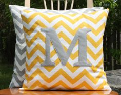 Popular Monogrammed Corn Yellow Chevron Pillow Cover - Soft Grey Monogram - Nursery/Kid Size