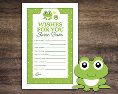Instant Download Frog Theme Baby Shower Wishes by Studio20Designs, $1.50
