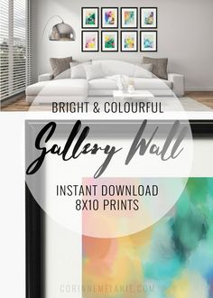 I've bundled up some of my best-selling, colourful 8x10 abstract art printables - available now as a free download to make your own gallery wall!