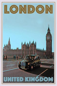 London Cab, United Kingdom - Retro style travel poster - All Posters available in 6 sizes, with or without frame. All prices include shipping to most EU countries. Art Deco Posters, Room Posters, Poster Prints, Foto Poster, All Poster, Life Poster, Photo Wall Collage, Picture Wall, London Poster