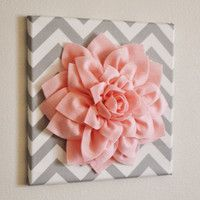 "Wall Flower -Light Pink Dahlia on Gray and White Chevron 12 x12"" Canvas Wall Art- Baby Nursery Wall Decor-"