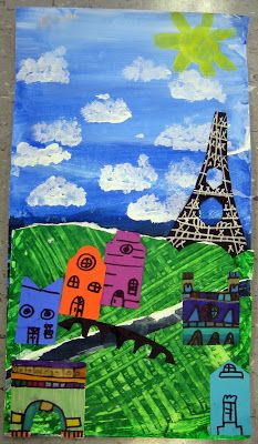 Parisian landscape, grade Nice landscape lesson, can do other cities also [includes fold and cut pattern for Eiffel Tower] Art Lessons For Kids, Art Lessons Elementary, Art For Kids, 2nd Grade Art, Grade 2, Second Grade, Primary School Art, Painted Paper, Art Classroom