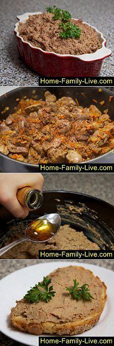 Кулинарные рецепты Паштет из печени - пошаговый фоторецепт паштета из куриной печени