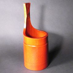 Red bamboo ice bucket, 11 3/4in.H.