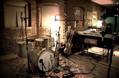 recording studio /rehearsal area in the basement of our detached garage.