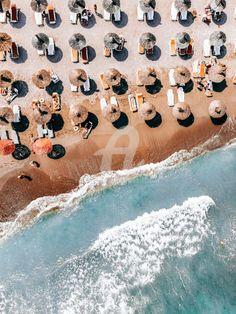 France Drawing, Beach Wall Decor, Abstract Animals, Beach Umbrella, Sea Art, Beach Print, Cool Posters, Print Artist, Large Art