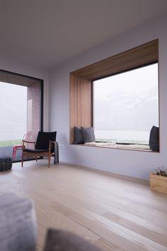 Fjord Interior on Behance Home Room Design, Home Interior Design, Interior Architecture, House Design, Home Decor Bedroom, Home Living Room, Japanese Home Design, Casa Patio, Modern Windows
