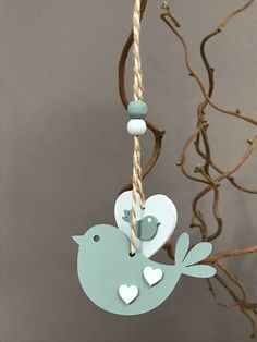 Wooden hanging bird and heart Bird Crafts, Wooden Crafts, Clay Crafts, Diy And Crafts, Arts And Crafts, Clay Christmas Decorations, Christmas Ornaments, Valentine Crafts, Easter Crafts