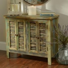 Coastal Shutter Wood Cabinet | Kirklands