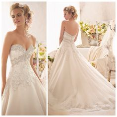 Mori Lee 2609 - Swarovski crystal beading along the sweetheart neck of this beautiful ball gown.  Lace also has a little sparkle, and a beautiful scalloped edge along the dress, Marry & Tux Bridal, Marry & Tux Bridal Shoppe, Marry & Tux Nashua, NH, Marry & Tux, Marry and Tux