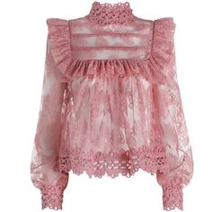 ZIMMERMANN Mischief Peony Lace Blouse ($1,295) ❤ liked on Polyvore featuring tops, blouses, zimmermann, ruffle collar blouse, ruffle top, ruffle collar top, red top and lace ruffle blouse