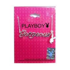 Playboy Necklace Silver Pendant w Chain Bunny Charm Gorgeous Swarovski Crystal #Playboy #Pendant