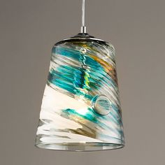 Sea Breeze Bucket Pendant Light Soft variations of colors form together in this glass pendant for a Glass Light Globes, Blown Glass Pendant Light, Diy Pendant Light, Pendant Lighting, Kitchen Pendants, Glass Pendants, Glass Lamps, Light Above Kitchen Sink, Tropical Kitchen