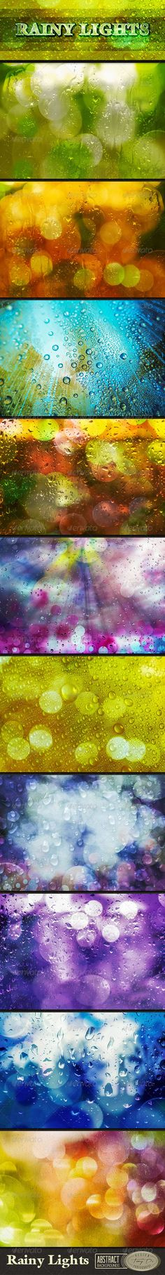 Rainy Lights Backgrounds The package contains 10 rainy lights backgrounds with water drops, bokeh, lights and light blur in web &