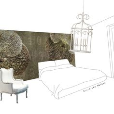 Sketch wallpaper ORCHID Velvet Collection by N.O.W. Edizioni