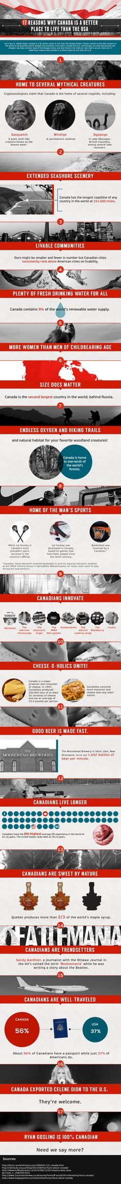 17 Reasons Why Canada is a Better Place to Live than the USA [Infographic] - Business Resource Center Cool Countries, Countries Of The World, I Am Canadian, Canadian Tuxedo, Moving To Canada, Canada Travel, Travel Usa, Canada Eh, Best Places To Live