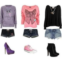 First outfit needs purple canverse last outfit needs black converse! Not a fan of heel.