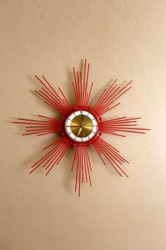 Mid Century Retro Red Clock