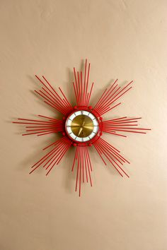 Mid Century Retro Red Clock