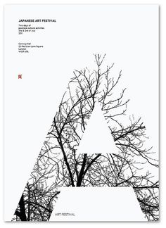 "Beautiful tree-filled ""A"" on a Japanese art festival poster."