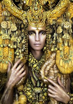 Gaia, The Birth Of An End+She'll Wait For You In The Shadows Of Summerby Kirsty Mitchell Surreal portraits of women in elaborate adornments, inspired by fantasy, folklore, mythology, and fairy tales told to the photographer by her late mother. via my modern met