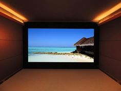 """Big sound. Big picture. This screen is 153"""". >> http://www.hgtvremodels.com/interiors/cedia-2013-home-theater-finalist-sleek-and-immersive/pictures/index.html?soc=cediaparty"""