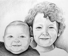 CUSTOM Pencil Portrait  Hand Drawn  Black and White by anniedraper