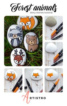 Forest animals story stones Enjoy this DIY forest animals tutorial with your kids! You will need: rocks Artistro paint pens Forest animals story stones Enjoy this DIY forest animals tutorial with your kids! You will need: rocks Artistro paint pens Story Stones, Stone Crafts, Rock Crafts, Garden Ideas Budget Backyard, Caillou Roche, Rock Painting Designs, Pet Rocks, Diy Garden Projects, Forest Animals