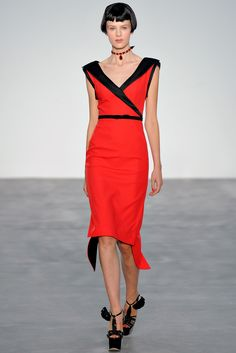 L´Wren Scott S/S 2014 #LFW. 20s style Blood red with black edging (collar, waist & hem).