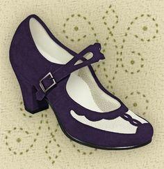 Aris Allen Indigo and Ivory 1940s Velvet and Mesh Mary Jane Swing Dance Shoe, size 7