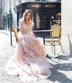 Dreamy Parisian wedding inspo courtesy of #moniquelhuillierbride #verosuh   Augie Chang   WedLuxe Magazine   #WedLuxe #Wedding #luxury #weddinginspiration #luxurywedding #weddingdress #blushweddingdress