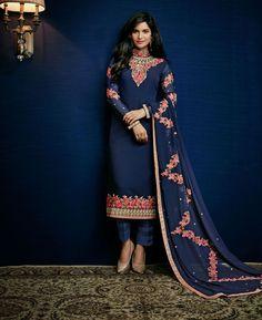 Buy Exquisite Navy Blue Straight Cut Salwar Kameez online at  https://www.a1designerwear.com/exquisite-navy-blue-straight-cut-salwar-kameez  Price: $37.49 USD