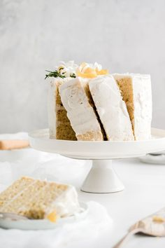Lemon olive oil cake on stand with layers. Super moist lemon olive oil cake is made gluten free and dairy free for a scrumptious weekend treat. Orange Olive Oil Cake, Lemon Olive Oil Cake, Lemon Oil, Healthy Cake Recipes, Sweet Recipes, Dessert Recipes, Desserts, Baking Recipes, Chocolate Olive Oil Cake