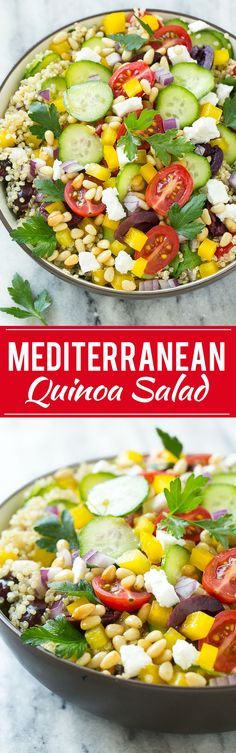 This recipe for Mediterranean quinoa salad is full of fresh vegetables, feta cheese and olives, tossed in a lemon and herb dressing and topped with pine nuts. It's a light and colorful addition to any meal!