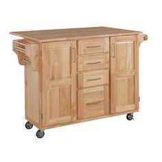 Home Styles Natural Wood Kitchen Cart With Breakfast Bar    BedBathandBeyond.com