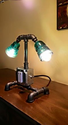 Desk Lamp Antique Telegraph Insulators With Black Iron Base Outlet And USB  Chargers Toggle ON/