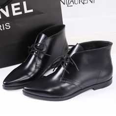 Style Women 2014 Spring Autumn Black Ankle Boots, Ladies Pointed Toe Lace-up Genuine Leather Shoes,34-39 $62.90