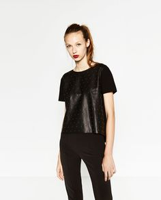 Image 2 of FAUX LEATHER SHORT-SLEEVE TOP from Zara