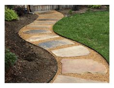 This walkway was create with artificial turf and decomposed granite. Gives the backyard an upgraded look without having to hire a gardener. Flagstone Pathway, Wood Walkway, Outdoor Walkway, Walkways, Backyard Walkway, Cobblestone Walkway, Walkway Lights, Concrete Pavers, Backyard Retreat