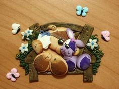 teddy e bunny fimo/cernit polimerclay handmade