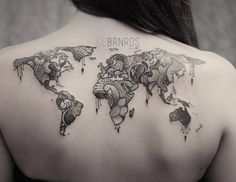Weltkarte als Ornament tattoo                                                                                                                                                      Mehr