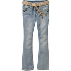 Faded Glory Girls' Fashion Belted Bootcut Jeans, Size: 16, Gray