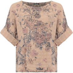 WearAll Plus Size Floral Print Linen Batwing Sleeve Top (1.485 RUB) ❤ liked on Polyvore featuring plus size women's fashion, plus size clothing, plus size tops, nude, patterned tops, oversized tops, long sleeve tops and womens plus tops