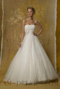 2014 Modest A-line Floor-length Strapless Beading Wedding Dresses