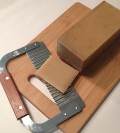 'Pumpkin Spice' loaf of all natural soap with a soap cutter & bamboo cutting board. $22.95