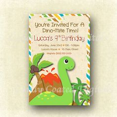 Dinosaur Printable Invitation Will Make The by CandyCoatedDigitals, $12.00