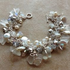 White Beach Sea Glass Vintage Crystals Beads Silver Crystals Pearls Bracelet | eBay