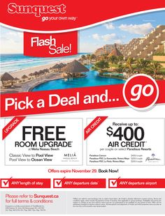 Flash #Sale! Pick a #Deal and….go!  Featuring select MELIÁ Hotels & Resorts and Paradisus Resorts properties!  To book, visit our DEALS and select a promotion from the dropdown menu on the left. ---> http://www.sunquest.ca/en/deals  #Deals #TravelDeals #Vacation #Travel #SaveonTravel #Beach #LastMinute #Sea #Sand #Ocean
