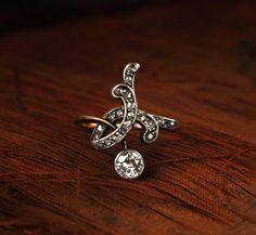 1900s Art Nouveau ~0.35 European Cut Diamond and Rose Cut Diamond Ring, Platinum, 18K, (sold)